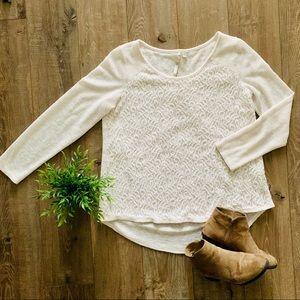 LC Lauren Conrad Lacy Cream Blouse XL